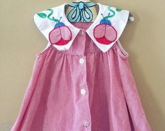 Vintage red gingham lady bug dress and bloomer set 12-18 months