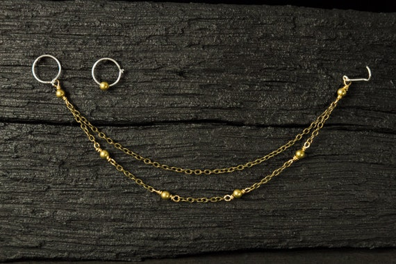 Double strands brass chains with brass beads nose chain included maching ear hoop
