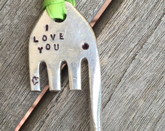 I LOVE YOU hand stamped with Heart ELEPHANT ornament with Lime Green Ribbon christmas tree ornament