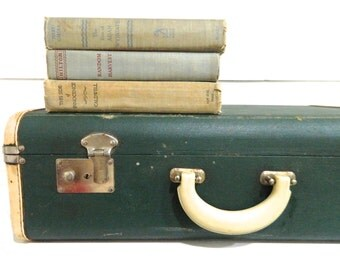 Vintage Suitcase Luggage Green MidCentury