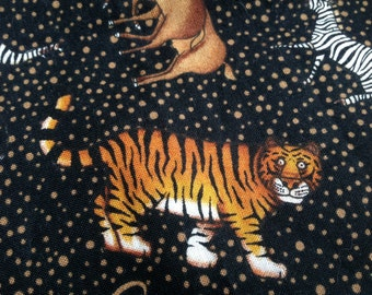 "Dan Morris for Hi Fashion Fabrics African Animals on Black Fabric with Brown Polka Dots 55"" by 42"""