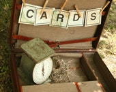 Vintage Tan Leather Briefcase, Suitcase, Brown, Blue and Gray , Wedding Card Box, Wedding Decor, Home Decor