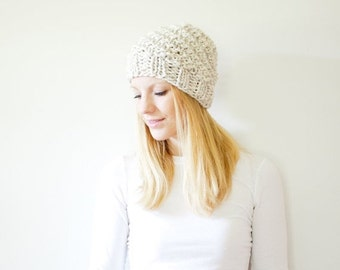 SUMMER SALE the ICARD hat - spiral chunky knit hat womens slouchy hat beanie - wheat