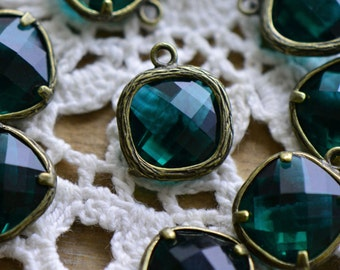 Square Jewel Charms DARK TEAL Green Colored Glass Drop Gem Jewels Square 12mm Antique Bronze ...