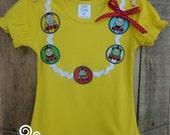Girls Thomas the train, Girls Thomas Shirt, Train shirt, Yellow shirt,  Necklace shirt, Made to order 12 month, 18 month,  2t, 3t, 4t, 5t, 6