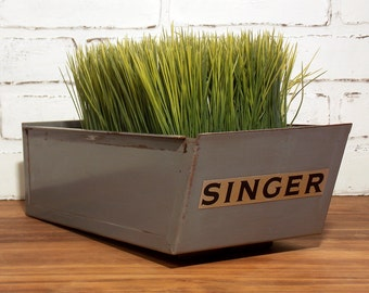 Vintage Singer Metal Drawer Box Industrial Home Decor