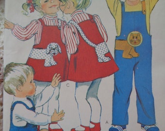 1970s McCalls 6748 Toddlers Jumpsuit and Jumper Pattern Wrap Around Appliques Boys Girls Vintage Sewing Pattern Size 3 Chest 22