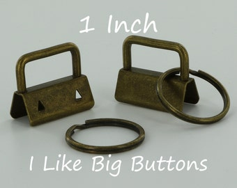 100 Sets - ANTIQUE BRASS - 1 INCH (25 mm) Key Fob Hardware with Rings Wristlet/Key Chains