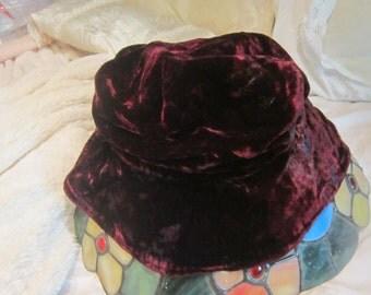 Soft Velvet Maroon Floppy Hat