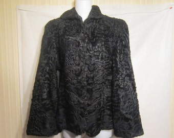 Vintage 40's Black Persian Lamb Cape Jacket