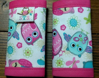 Reversible NEWBORN Car Seat Strap Covers Whimsical Spring Owls with Fuchsia Dimple Dot Minky Cuddle Baby Girl Accessories ITEM #373