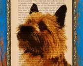 And Your Little Dog Too Original Art Print on an Antique Upcycled Bookpage