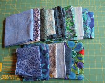 Destash Fabric for Sale, Scraps and Leftovers in Blue
