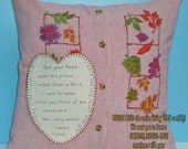 Woman's Memory Pillow SLIPCOVER & PILLOW FORM Made From Shirt of Loved One