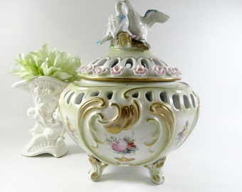 Ornate Vintage German Potpourri Jar, Lavishly Hand Painted and Marked F K Dresden, Love Birds Finial, Vintage by TheSweetBasilShoppe