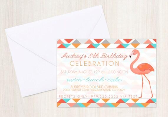 FLAMINGO Pool Party Birthday Invite - Flamingo Party Invitation - Nautical  - Party Supplies