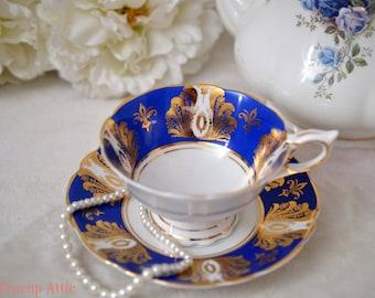 ON SALE Royal Stafford Stunning Royal Blue Teacup and Saucer, Vintage English Bone China Tea Cup, Wedding Gift,  ca. 1950