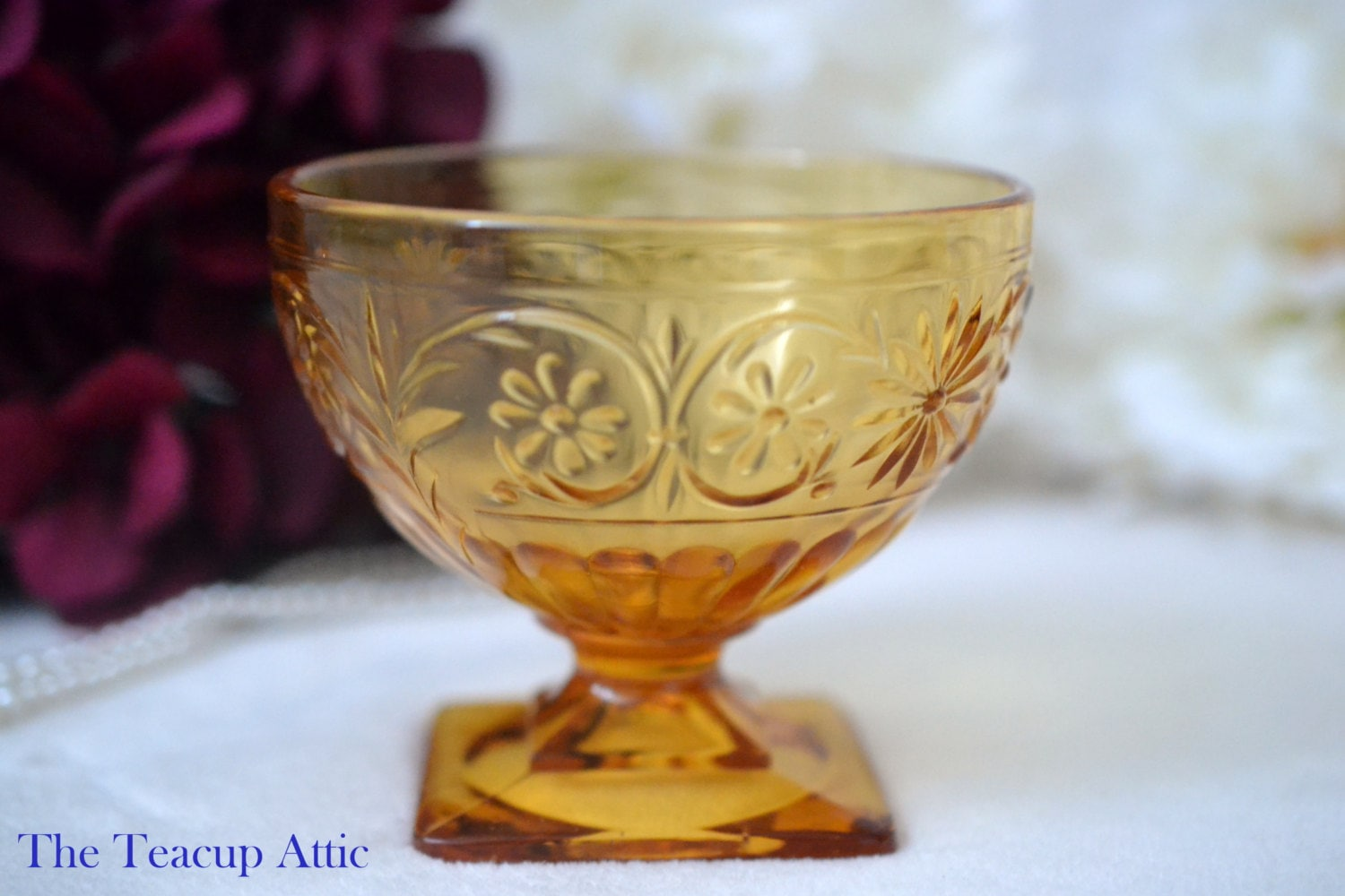 Indiana Vintage Amber Depression Sherbet Bowl, Daisy Pattern,  ca. 1940