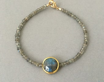 Labradorite Disc Beaded Gold Bracelet