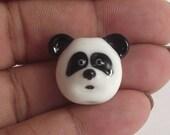 Lampwork glass miniature sculpture panda bear bead.