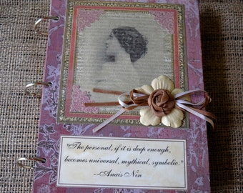 Mixed Media Journal // Art Blank Notebook or Sketchbook //Rustic Collage, Lina Cavalieri, Anais Nin Quote// 6x8 inches // Handmade Gift