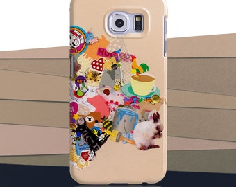 """Samsung Galaxy S7 and S7 EDGE Phone Case, S4 S5 S6 S8, Mia Christopher's cute """"Stickers"""". Lovable sticker collage with peach background."""