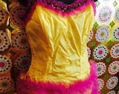 Vintage Bombshell Strapless Yellow and Pinky-Purple Leotard Dance Costume. Burlesque, Showgirl, Hot Box Girl, Tap, Pin Up. Adult M
