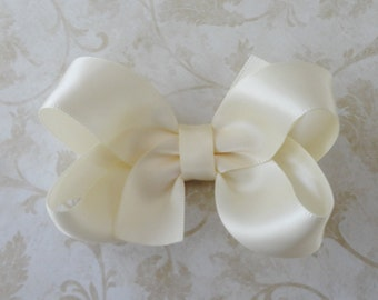 Infant Ivory or White Satin Bow -  Baby Bow Headband - Small Ivory Satin Hair Bow -  Infant Headband - Ivory Satin Bow - Great Photo Prop