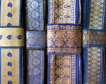 Blue and Gold Sari borders, Sari Trim SR322