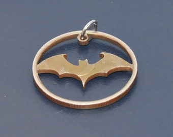 Halloween bat. Brown antique. Cut coin pendant necklace charm. Five russian roubles coin. Coincut jewelry by invicia.