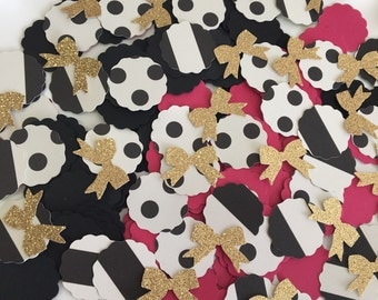 Bachelorette Party Confetti | Hot Pink, Black and Gold Glitter Confetti | Black and Gold Bridal Shower Confetti | Gold Bow Confetti |160 CT