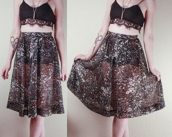 70's High Waisted Black Sheer SKIRT // Wildflowers Print // Size Small