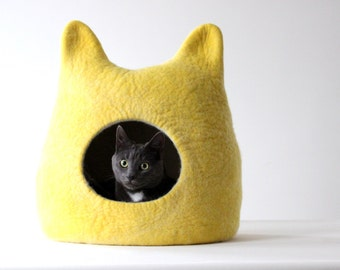 Cat bed - cat cave - cat house - made to order - felted wool cat bed - lemon yellow with natural white