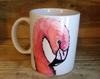 Flamingo mug, for flamingo lovers, pink bird, tea drinkers, coffee drinkers, hand painted, ceramic mug