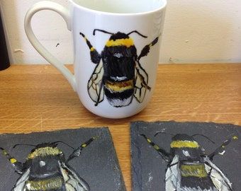Bee, bumble bee coasters, slate, hand painted, for bee lovers