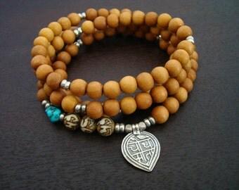 Women's Turquoise & Sandalwood Good Health Mala - Necklace and Wrap Bracelet - Yoga, Jewelry, Buddhist, Meditation, Prayer Beads, Jewelry