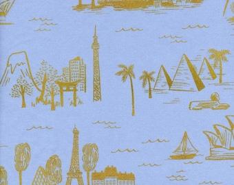 Les Fleurs - City Toile in Pale Blue Metallic - COTTON LAWN - Anna Bond for Cotton + Steel - 8006-21 - 1/2 yd