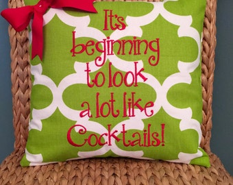 Christmas Embroidered Pillow Cover It's beginning to look a lot like cocktails