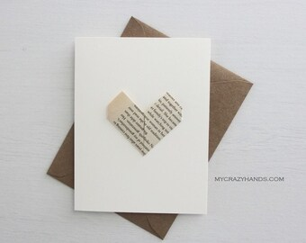 3 origami love cards || anniversary cards | heart wedding cards || A2 card with envelopes -YOUR choice, vintage heart