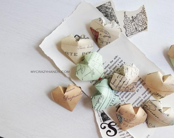 12 origami balloon hearts || texture paper heart favors | wedding hearts | gift for unisex -Paris postcards