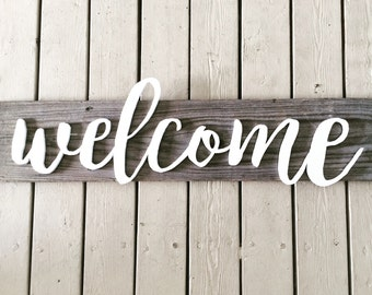Welcome Sign, Reclaimed Wood, Welcome Wood Sign