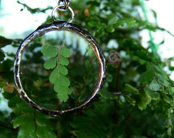 pressed fern necklace // flat round glass + fern