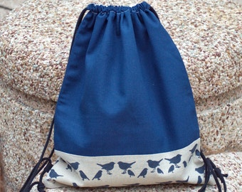 Drawstring backpack/ Cotton backpack/ Drawstring bag/ handmade backpack/ Gym bag/ Swim bag ~ Navy birds (a) (B43)