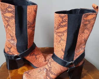Gorgeous EuroLeather orange and black reptile print leather boots with high chunky heel size 6 1/2 M