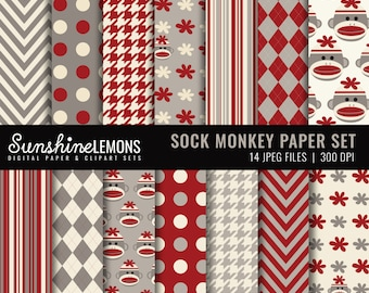 Sock Monkey Digital Paper Pack - Set of 14 Papers - COMMERCIAL USE Read Terms Below
