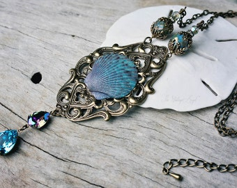 A MERMAID FANTASY large statement seashell mermaid fantasy necklace on long chain, ready to ship