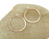 Small Pink Gold Hoops, 14K Rose Gold Filled Hammered Hoop Earrings, 20 Gauge Hoops, Handmade Earrings, Handcrafted Jewelry, Gift For Her