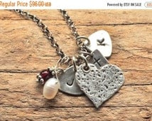 Rustic Charm Necklace for Mom. Hammered Heart Pendant. Personalized Guitar Pick Charms. Tiny Cross Charm. Personalized Birthstone Jewelry.