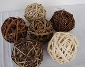 set 6,natural twig,vine decorative balls,bowl fillers,wedding table decor,shabby chic,rustic French