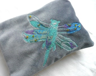 Embroidered velvet purse - hand dyed velvet pouch - free embroidered dragonfly purse - zipped grey velvet pouch